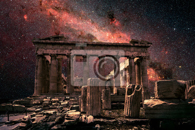 Obraz Athens at night, Greece. Fantasy view of Parthenon on Milky Way background. This old temple is top landmark of Athens. Elements of this image furnished by NASA.