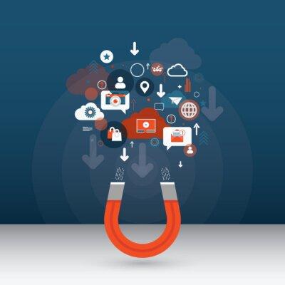 Attracting online customers. Inbound marketing concept