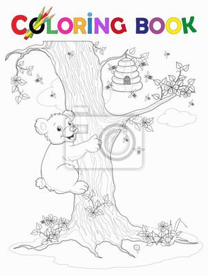 Ausmalbild Bär Klettert Am Baum Zum Honigkorb Vektor Ilustracja Obrazy Redro