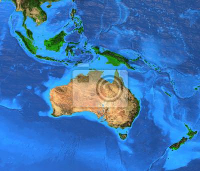 Australasia Oceania - mapa o wysokiej rozdzielczości