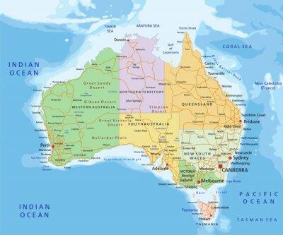 Obraz Australia - Highly detailed editable political map.