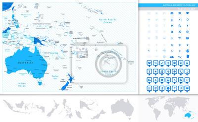 Australia i Oceania mapa w kolorach niebieskim i map pointers kol