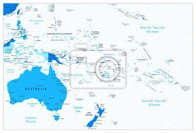 Australia i Oceania Szczegółowa mapa kolory niebieski