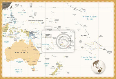 Australia i Oceania Szczegółowa mapa polityczna retro kolory