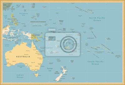 Australia i Oceania Szczegółowa mapa polityczna rocznika kolory