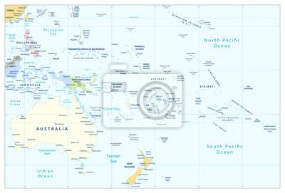 Australia i Oceania szczegółową mapę polityczną