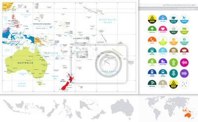Australia i Oceania szczegółową mapę polityczną i płaski zestaw ikon