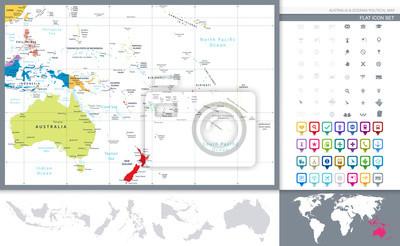 Australia i Oceania szczegółową mapę polityczną i zestaw nawigacji