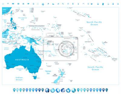 Australia i Oceania szczegółową mapę polityczną w kolorach niebieskim A