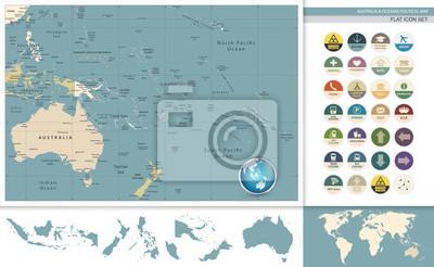 Australia i Oceania szczegółowe mapy i płaski retro zestaw ikon