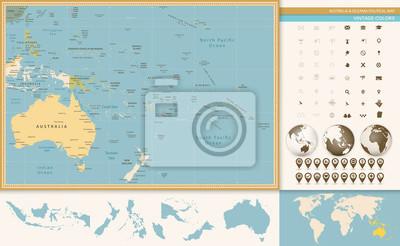 Australia i Oceania szczegółowo stare mapy kolorów i ikonę nawigacji