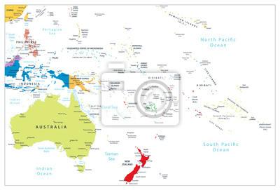 Australia i Oceania szczegółowy mapa polityczna samodzielnie na białym tle