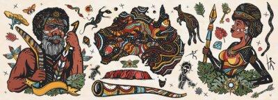 Obraz Australia. Old school tattoo vector collection. Ethnic Australian woman in traditional costume. Aboriginal tribes bushmen. Boomerang,  kangaroo, didgeridoo, map. Tradition, people, culture