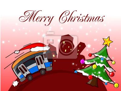 Obraz autobus wesołych świąt