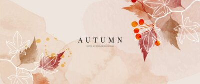 Obraz Autumn background design  with watercolor brush texture, Flower and botanical leaves watercolor hand drawing. Abstract art wallpaper design for wall arts, wedding and VIP invite card. vector eps10