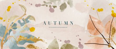 Obraz Autumn background vector. Hand painted watercolor and gold brush texture, Flower and botanical leaves hand drawing. Abstract art design for wallpaper, wall arts, cover, wedding and  invite card.
