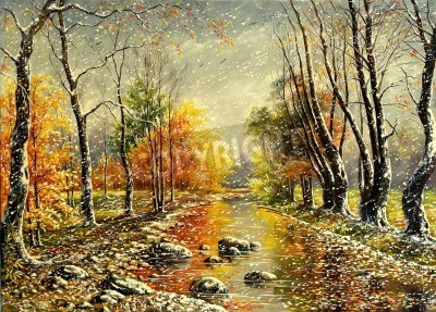 Obraz Autumn bad weather in wood
