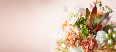 Obraz Autumn composition made of beautiful flowers on pastel backdrop. Floristic decoration. Natural floral background.