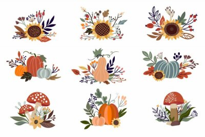 Obraz Autumn floral arrangements set isolated on white, with pumpkins, sunflowers and mushrooms