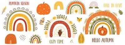 Obraz Autumn pumpkin clip art, autumn rainbow set. Thanksgiving pumpkin, fall floral elements, cute arches