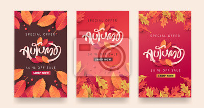 Obraz Autumn sale background layout decorate with leaves for shopping sale or promo poster and frame leaflet or web banner.Vector illustration template.