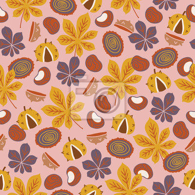 Autumn seamless pattern with chestnut and leaves on pink background