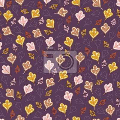 Autumn seamless pattern with colorful leaves on dark violet background