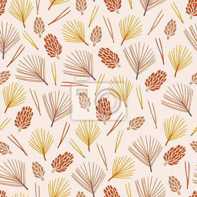 Autumn seamless pattern with cones, fir needles and spruce branches