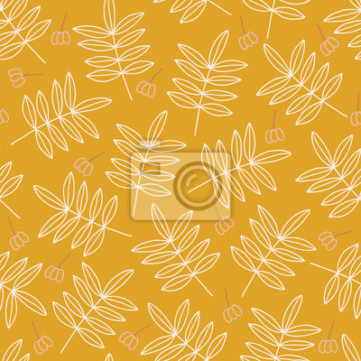 Autumn seamless pattern with contour leaves and berries