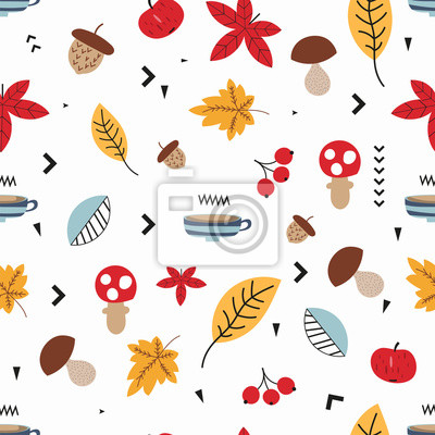 Autumn seamless pattern with hot coffee or tea, apple and forest elements in Scandinavian style on white background. Vector Illustration. Great for nursery, baby clothes, greeting cards, wrapper.