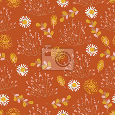 Autumn seamless pattern with leaves, daisy, chamomile, flowers and bush