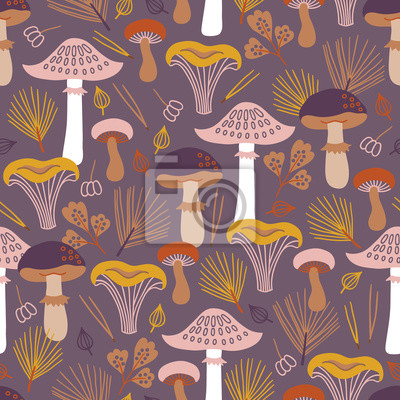 Autumn seamless pattern with mushroom, fir branches, leaves and berries