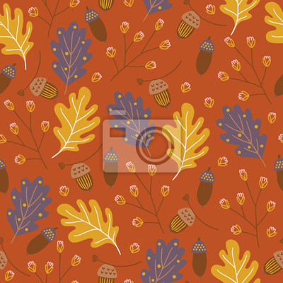 Autumn seamless pattern with oak leaves, acorns and branches