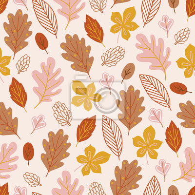 Autumn seamless pattern with oak, maple, chestnut leaves and cones