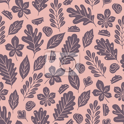 Autumn seamless pattern with silhouette chestnuts, oak leaves and branches
