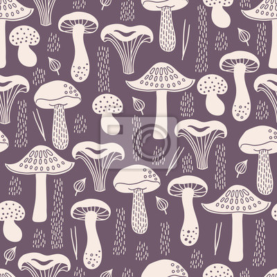 Autumn seamless pattern with white silhouette mushrooms, leaves, fir needles