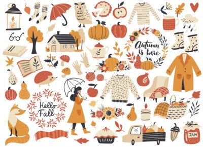 Obraz Autumn set, fall clip art, design elements collection with leaf, pumpkins, sweater, wreaths, and others. Hand drawn vector illustration.