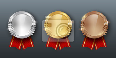 Obraz Award golden, silver and bronze medals with ribbons 3d realistic vector color illustration on gray background