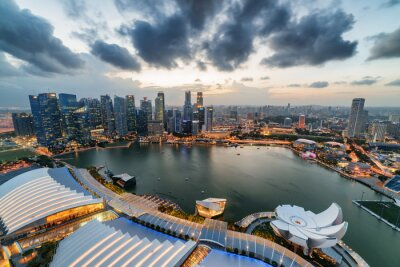 Awesome aerial view of Marina Bay and skyscrapers, Singapore