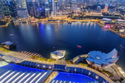 Awesome night aerial view of Marina Bay in Singapore