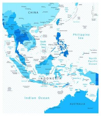 Azja Południowo Szczegółowa mapa kolorach niebieskim