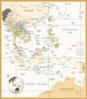 Azja Południowo Szczegółowa mapa kolorach retro