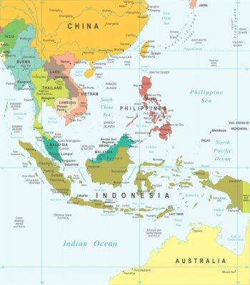 Obraz Azja Południowo-Wschodnia - mapa - ilustracji. Azja Południowo-Wschodnia mapę - bardzo szczegółowe ilustracji wektorowych.