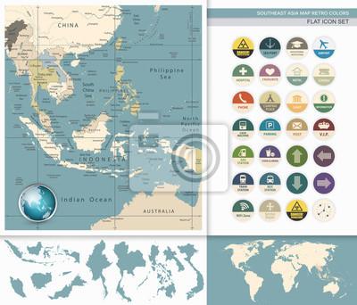 Azja Południowo-Wschodnia Szczegółowa mapa i płaskie Icon Set.Retro Kolory