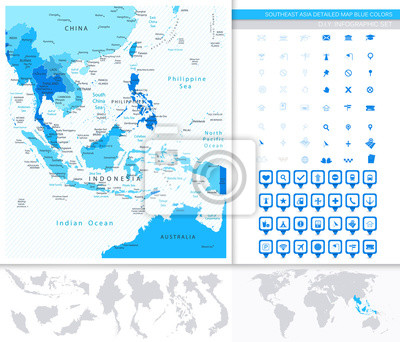 Azja Południowo-Wschodnia Szczegółowa mapa kolorach niebieskim i mapa Wskaźniki Set