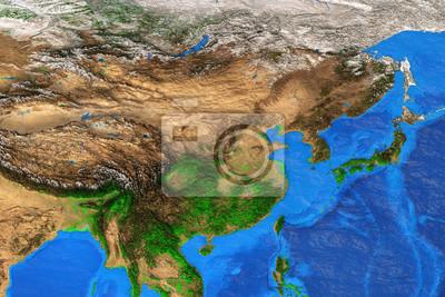 Azja Wschodnia - mapa fizyczna o wysokiej rozdzielczości