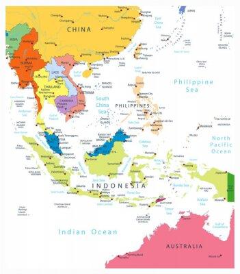 Azji Południowo-Wschodniej Mapa polityczna Na Białym