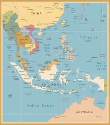 Obraz Azji Południowo-Wschodniej Mapa Szczegółowy zabytkowe kolory