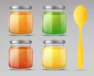 Obraz Baby food jars and plastic spoon set, glass puree bottle with cap isolated on grey background mock up design. Blank preserve tube for child nutrition mockup. Realistic 3d vector illustration, clip art
