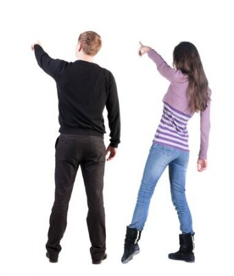 Obraz Back view of couple in sweater pointing. Rear view people collection. backside view of person. Isolated over white background.